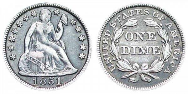 1851 Seated Liberty Dime