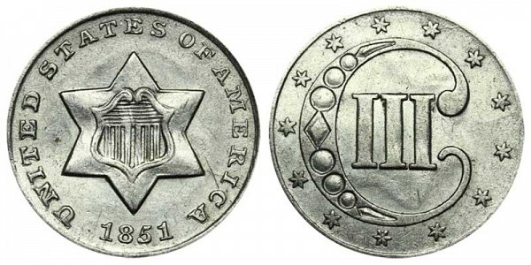 1851 Silver Three Cent Piece Trime