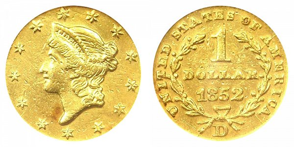 1852 D Liberty Head Gold Dollar G$1