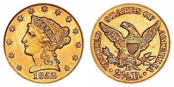 1852 D Liberty Head $2.50 Gold Quarter Eagle - 2 1/2 Dollars
