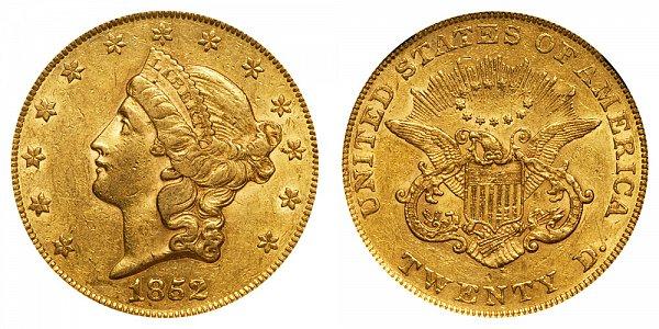 1852 Liberty Head $20 Gold Double Eagle - Twenty Dollars