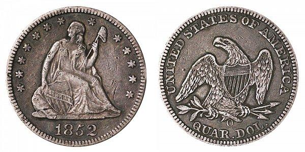 1852 O Seated Liberty Quarter