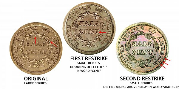 1852 Original vs First Restrike vs Second Restrike Braided Hair Half Cent - Difference and Comparison