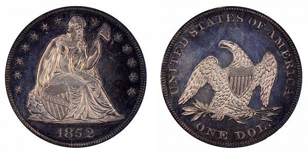 1852 Seated Liberty Silver Dollar Restrike
