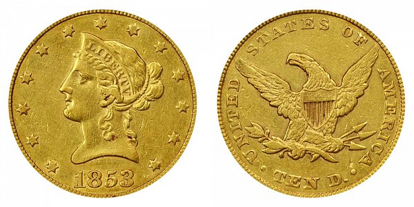 1853/2 Liberty Head $10 Gold Eagle - 3 Over 2 - Ten Dollars