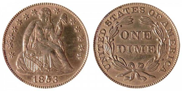 1853 Seated Liberty Dime - No Arrows