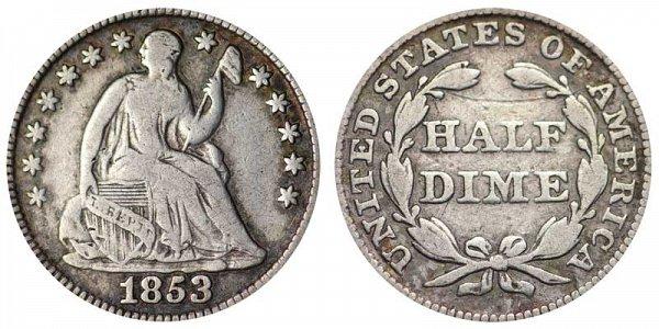 1853 Seated Liberty Half Dime - No Arrows