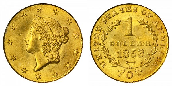1853 O Liberty Head Gold Dollar G$1