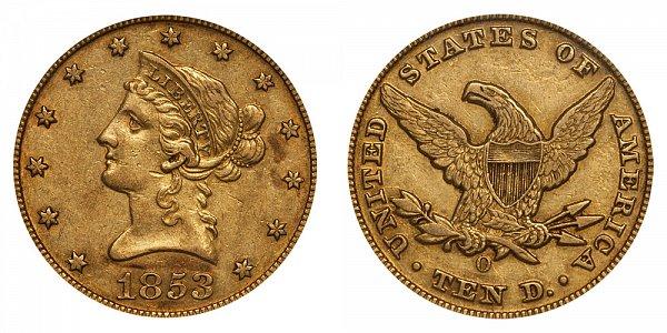 1853 O Liberty Head $10 Gold Eagle - Ten Dollars