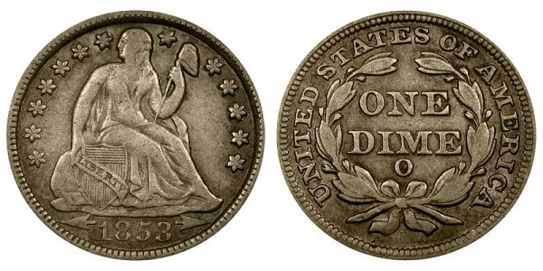 1853 O Seated Liberty Dime - Type 3 With Arrows at Date