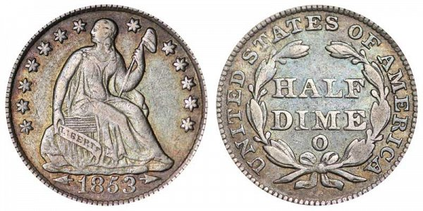 1853 O Seated Liberty Half Dime - Type 3 With Arrows at Date