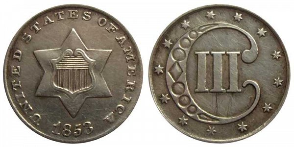 1853 Silver Three Cent Piece Trime