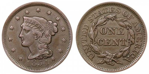 1854 Braided Hair Large Cent Penny
