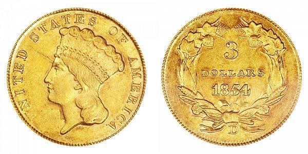 1854 D Indian Princess Head $3 Gold Dollars - Three Dollars