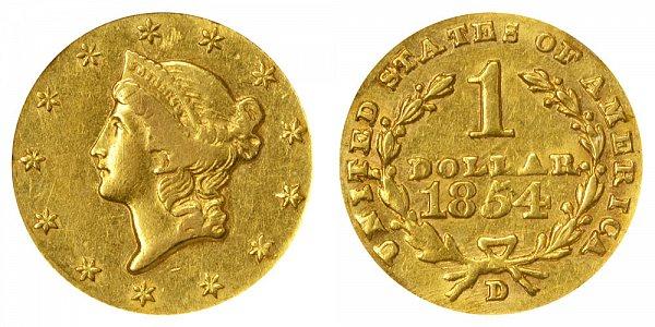 1854 D Liberty Head Gold Dollar G$1