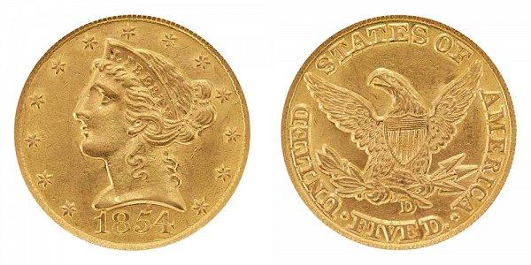 1854 D Liberty Head $5 Gold Half Eagle - Five Dollars