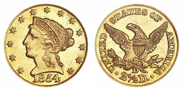 1854 D Liberty Head $2.50 Gold Quarter Eagle - 2 1/2 Dollars