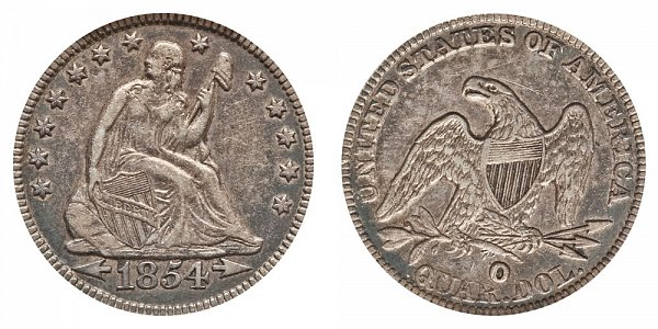 1854 Huge O Seated Liberty Quarter
