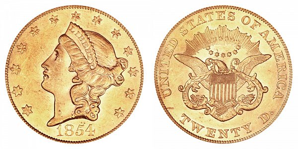 1854 Large Date Liberty Head $20 Gold Double Eagle - Twenty Dollars