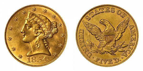1854 Liberty Head $5 Gold Half Eagle - Five Dollars