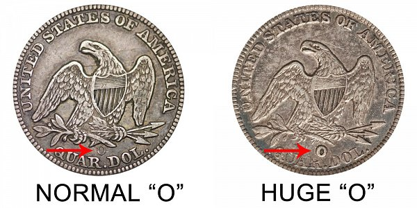 1854 O Seated Liberty Quarter - Normal O vs Huge O - Difference and Comparison