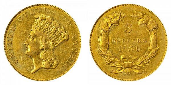 1854 O Indian Princess Head $3 Gold Dollars - Three Dollars