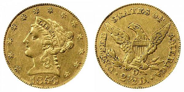 1854 O Liberty Head $2.50 Gold Quarter Eagle - 2 1/2 Dollars