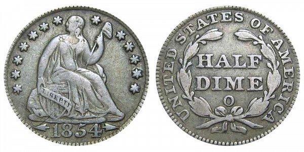 1854 O Seated Liberty Half Dime