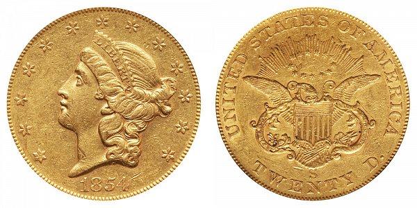 1854 S Liberty Head $20 Gold Double Eagle - Twenty Dollars