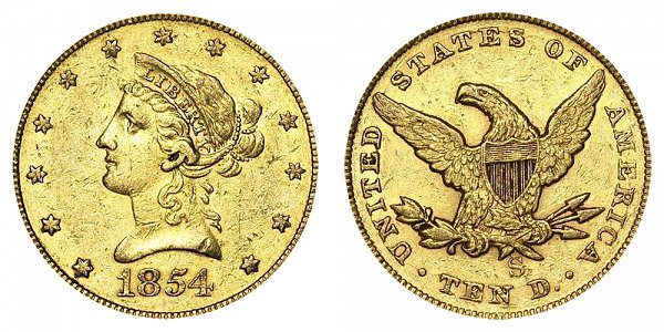 1854 S Liberty Head $10 Gold Eagle - Ten Dollars