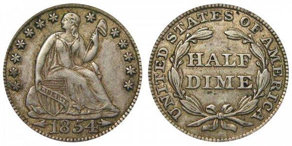 1854 Seated Liberty Half Dime