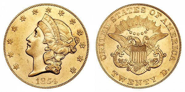 1854 Small Date Liberty Head $20 Gold Double Eagle - Twenty Dollars