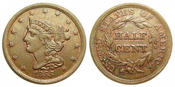 1855 Braided Hair Half Cent Penny