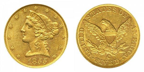 1855 C Liberty Head $5 Gold Half Eagle - Five Dollars