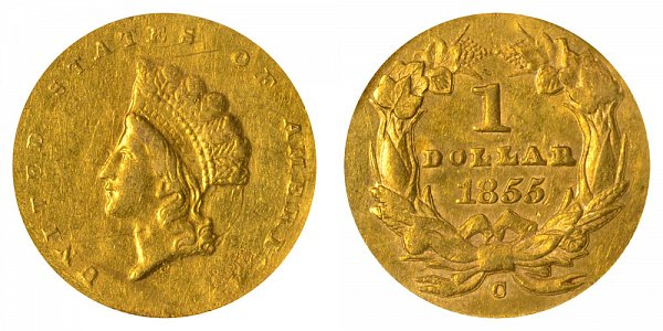 1855 C Small Indian Princess Head Gold Dollar G$1