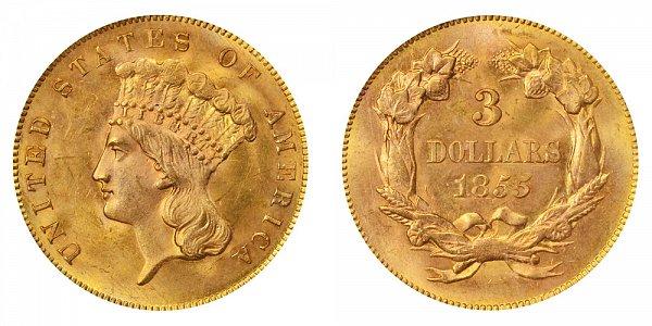 1855 Indian Princess Head $3 Gold Dollars - Three Dollars