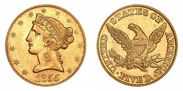 1855 Liberty Head $5 Gold Half Eagle - Five Dollars