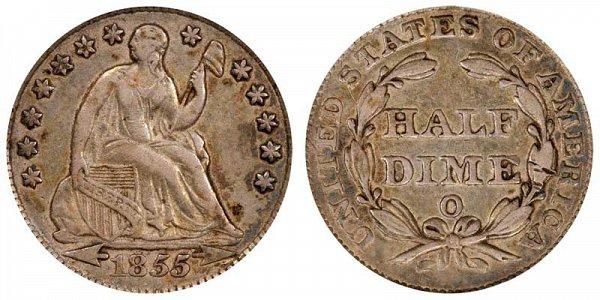 1855 O Seated Liberty Half Dime