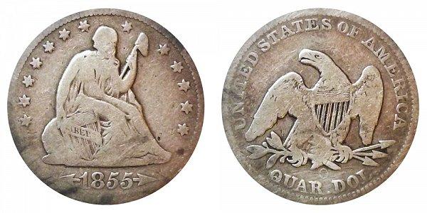 1855 O Seated Liberty Quarter