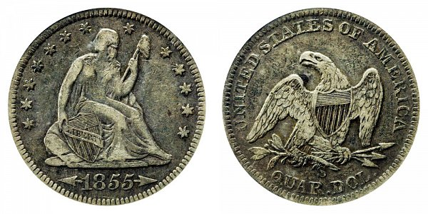 1855 S Seated Liberty Quarter