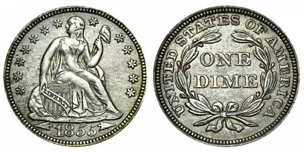1855 Seated Liberty Dime