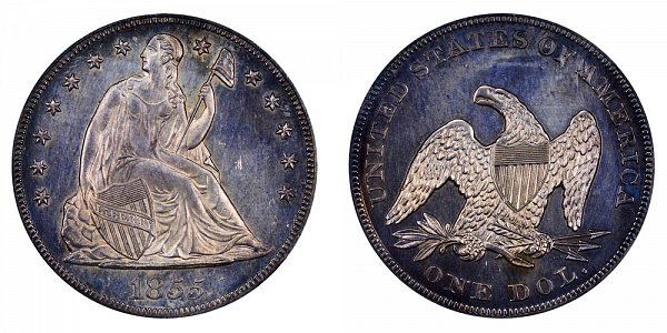 1855 Seated Liberty Silver Dollar