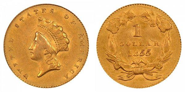 1855 Small Indian Princess Head Gold Dollar G$1