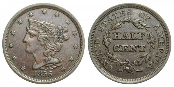1856 Braided Hair Half Cent Penny