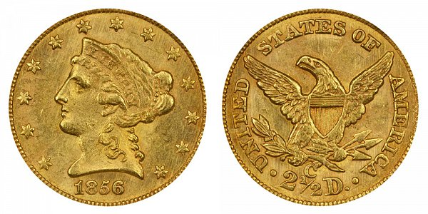 1856 C Liberty Head $2.50 Gold Quarter Eagle - 2 1/2 Dollars