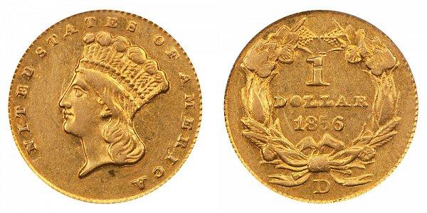 1856 D Large Indian Princess Head Gold Dollar G$1