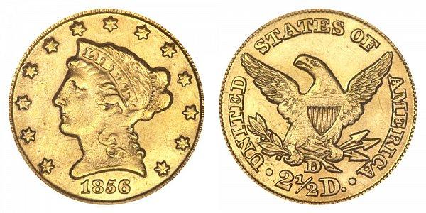 1856 D Liberty Head $2.50 Gold Quarter Eagle - 2 1/2 Dollars