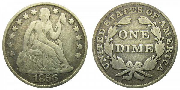 1856 Large Date Seated Liberty Dime