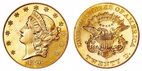 1856 O Liberty Head $20 Gold Double Eagle - Twenty Dollars
