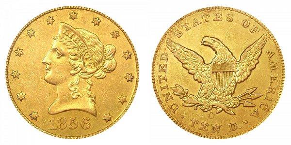 1856 O Liberty Head $10 Gold Eagle - Ten Dollars